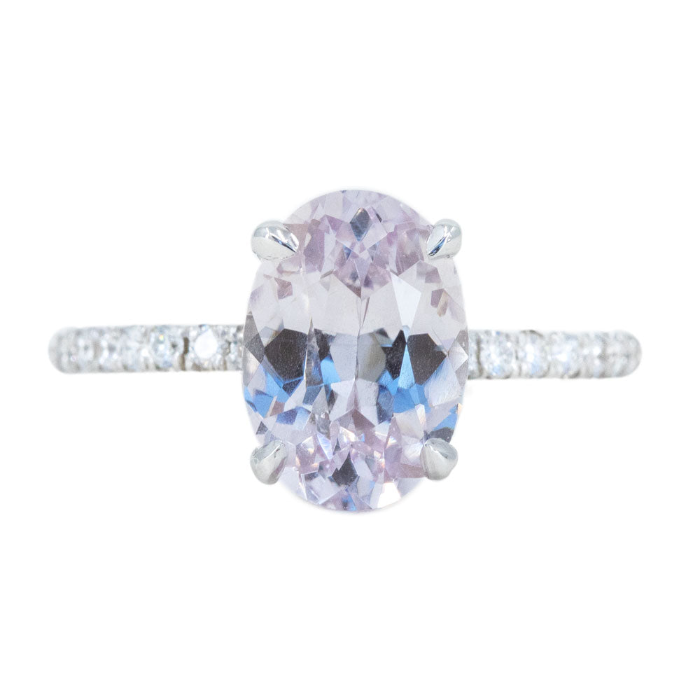 2.69ct Oval Lilac Sapphire Solitaire Ring with Diamonds in 14k White Gold