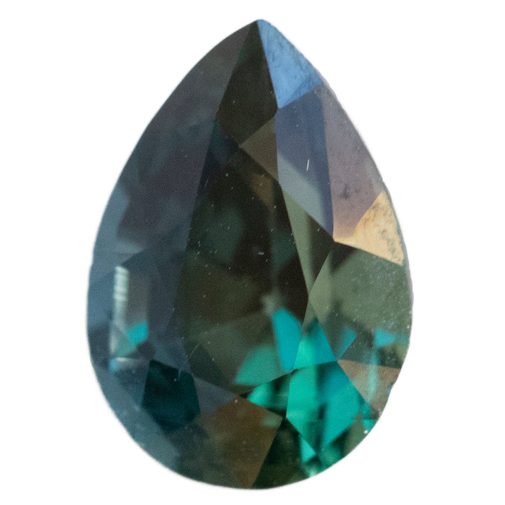 2.70CT PEAR MADAGASCAR SAPPHIRE, TEAL BLUE GREEN, UNHEATED, 9.94X6.94MM