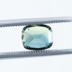 2.87CT CUSHION CUT MADAGASCAR SAPPHIRE, DEEP TEAL BLUE, UNHEATED, 8.56X7.05MM