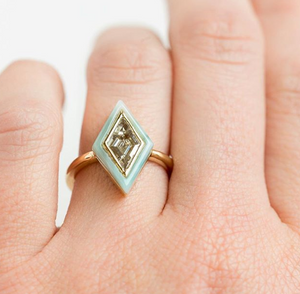 Custom Order-  Kite Moissanite Ring with a Blue Agate Halo - Reserved for R.