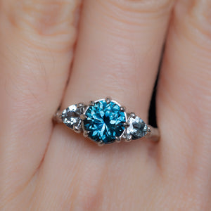 1.80ct Blue Montana Sapphire and Grey Spinel Three Stone Low Profile Evergreen Ring in Platinum