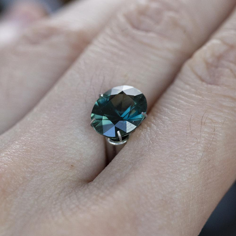 3.02ct Oval Deep Teal Green Sapphire Double Pronged Solitaire in 14k Yellow Gold