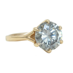 3.03ct Grey Diamond Six Prong Split Shank Solitaire In 14k Yellow Gold