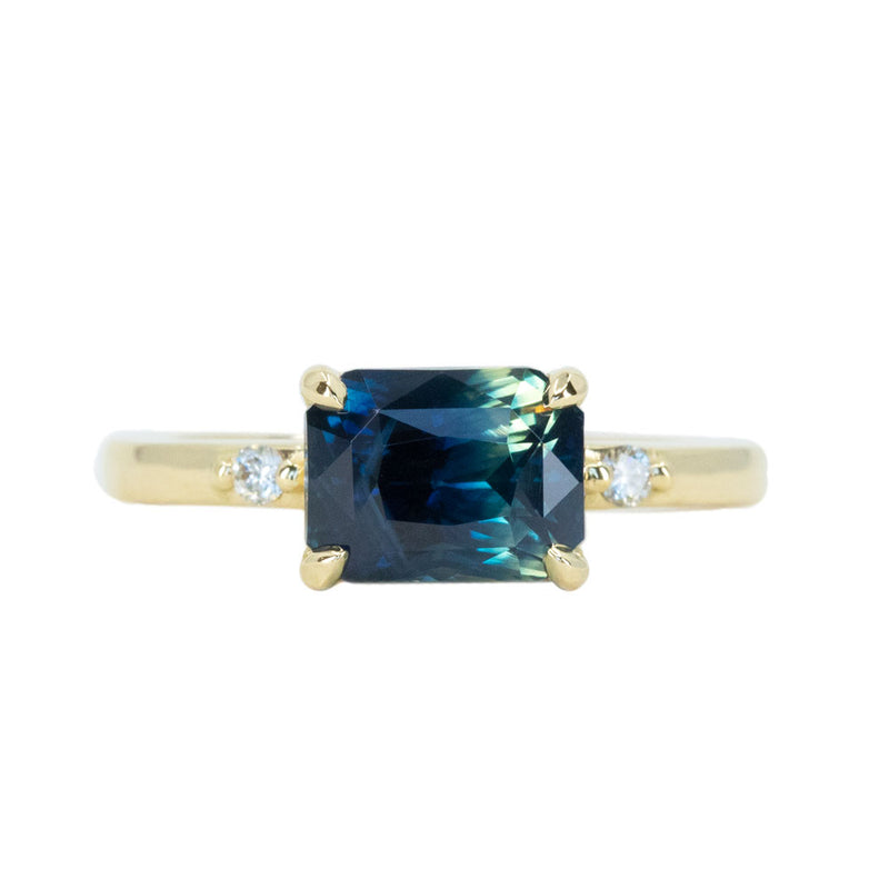 3.12ct East-West Parti Sapphire and Diamond Low Profile Ring in 18k Yellow Gold