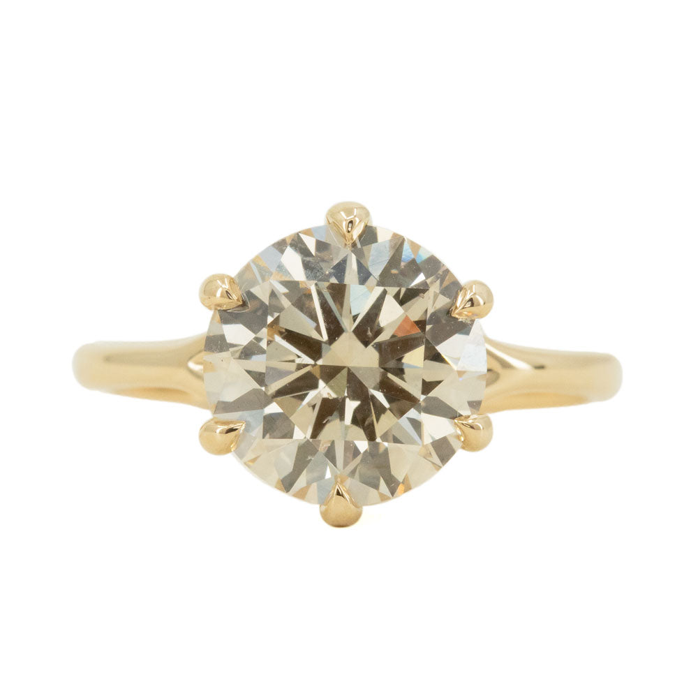 3.14ct Light Champagne Diamond Six Prong Split Shank Solitaire In 14k Yellow Gold