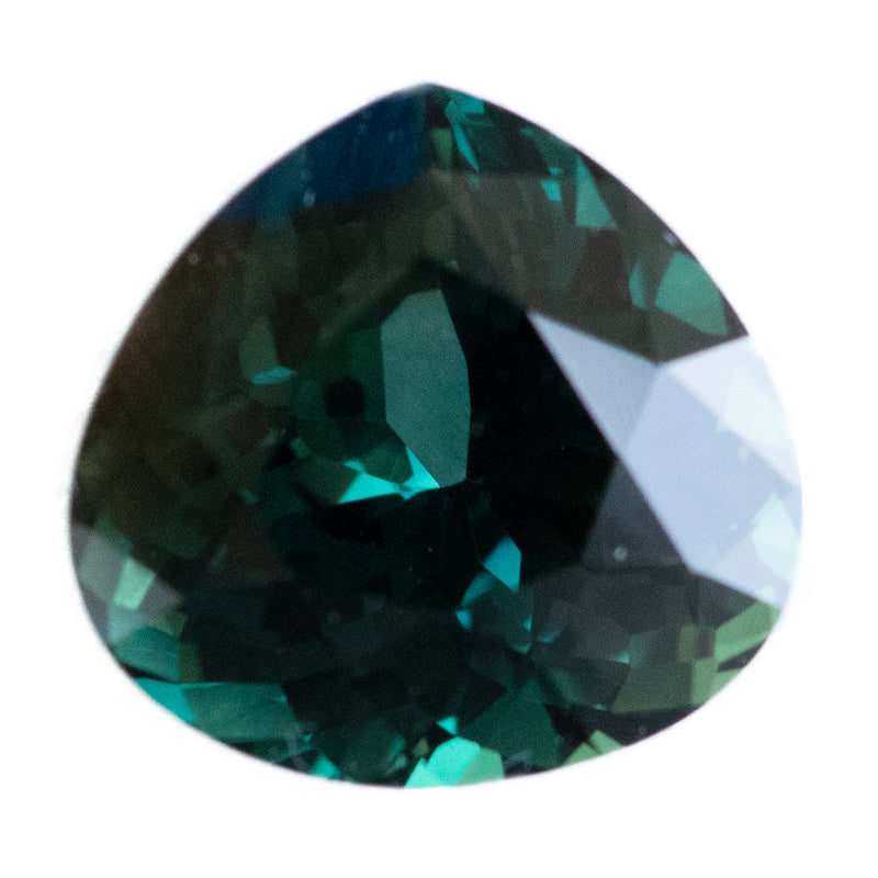 3.21CT MODIFIED PEAR MADAGASCAR SAPPHIRE, DARK TEAL/GREEN/YELLOW, UNHEATED, 9.1X8.8MM