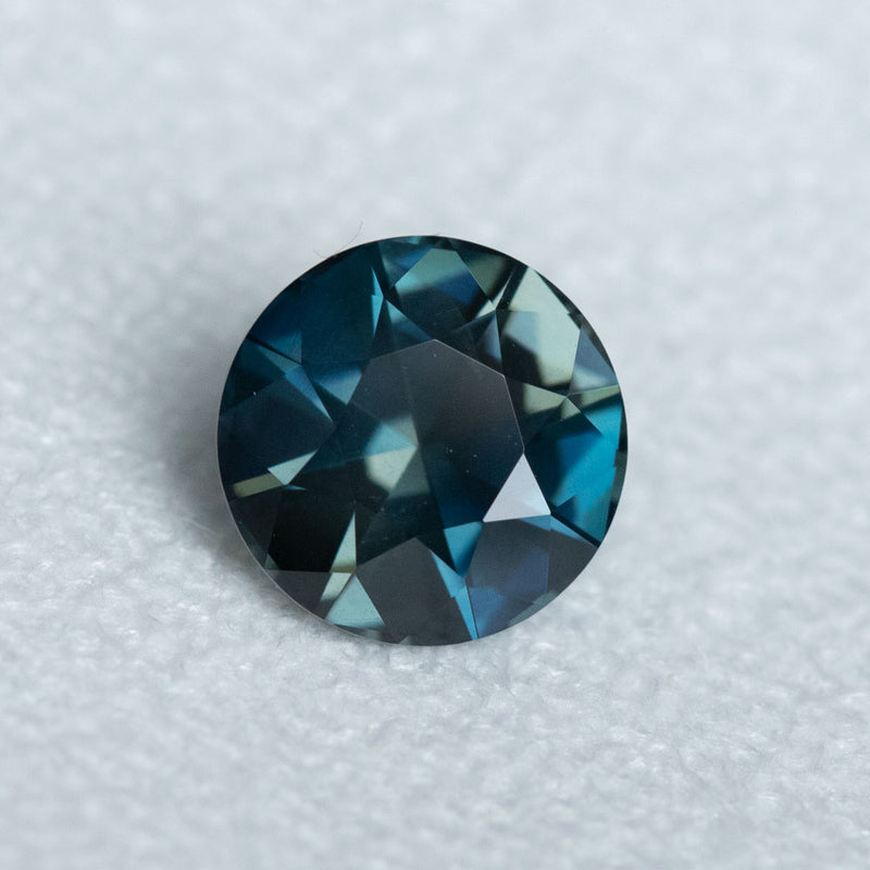 3.38CT ROUND MADAGASCAR SAPPHIRE, BLUE AND GREY, TEAL, 8.80X5.93MM