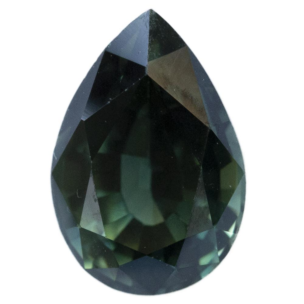 3.3CT PEAR AUSTRALIAN SAPPHIRE, DEEP GREEN BLUE TEAL AND PARTI YELLOW, 10.6X7.4MM