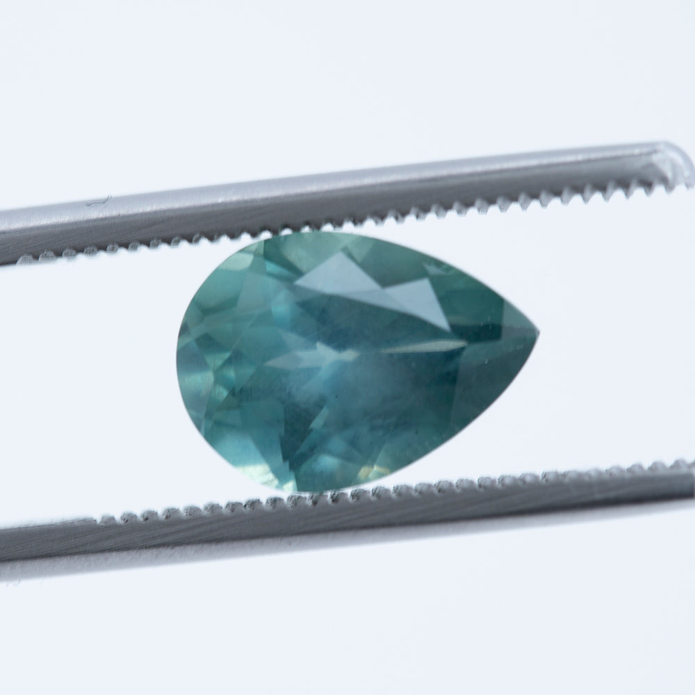 3.50CT PEAR MONTANA SAPPHIRE, SILKY LIGHT TEAL SEAFOAM, UNHEATED, 11.08X7.96MM