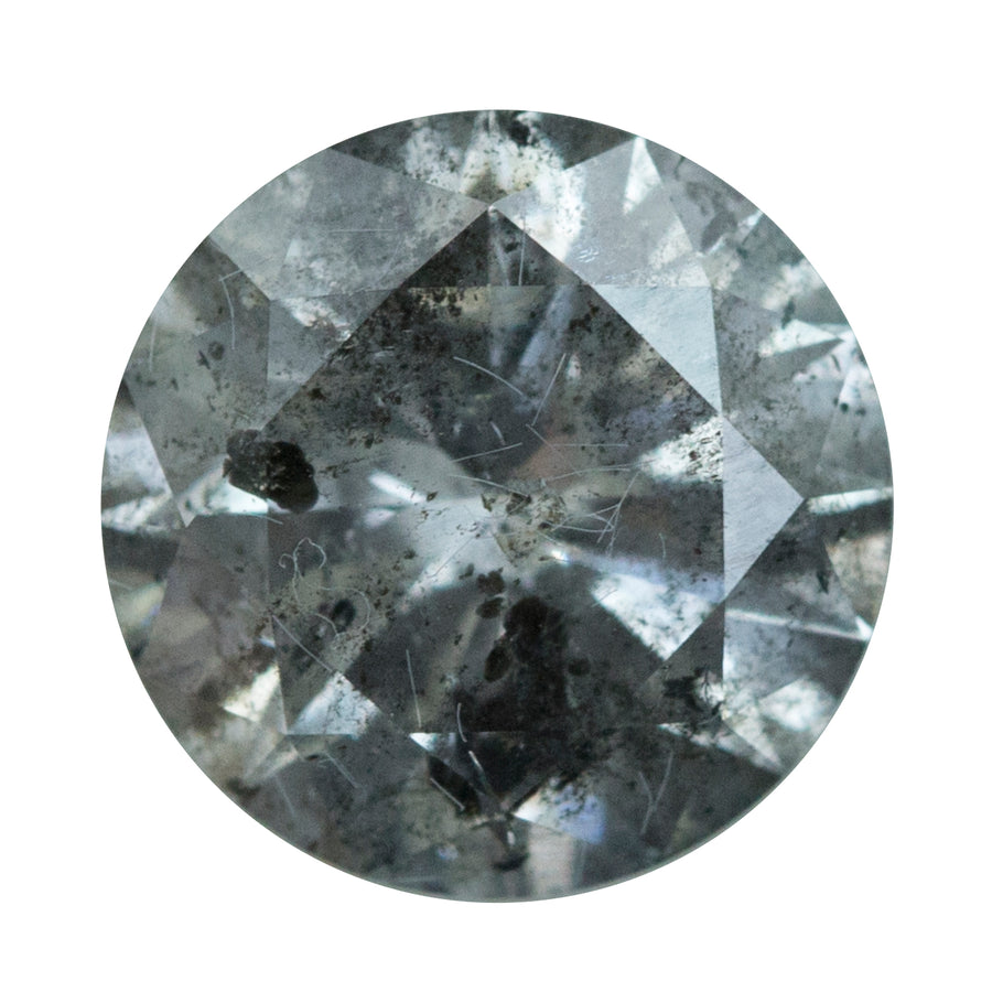 3.52CT ROUND GREY SALT AND PEPPER DIAMOND WITH LARGER BLACK INCLUSIONS 9.7X5.9MM