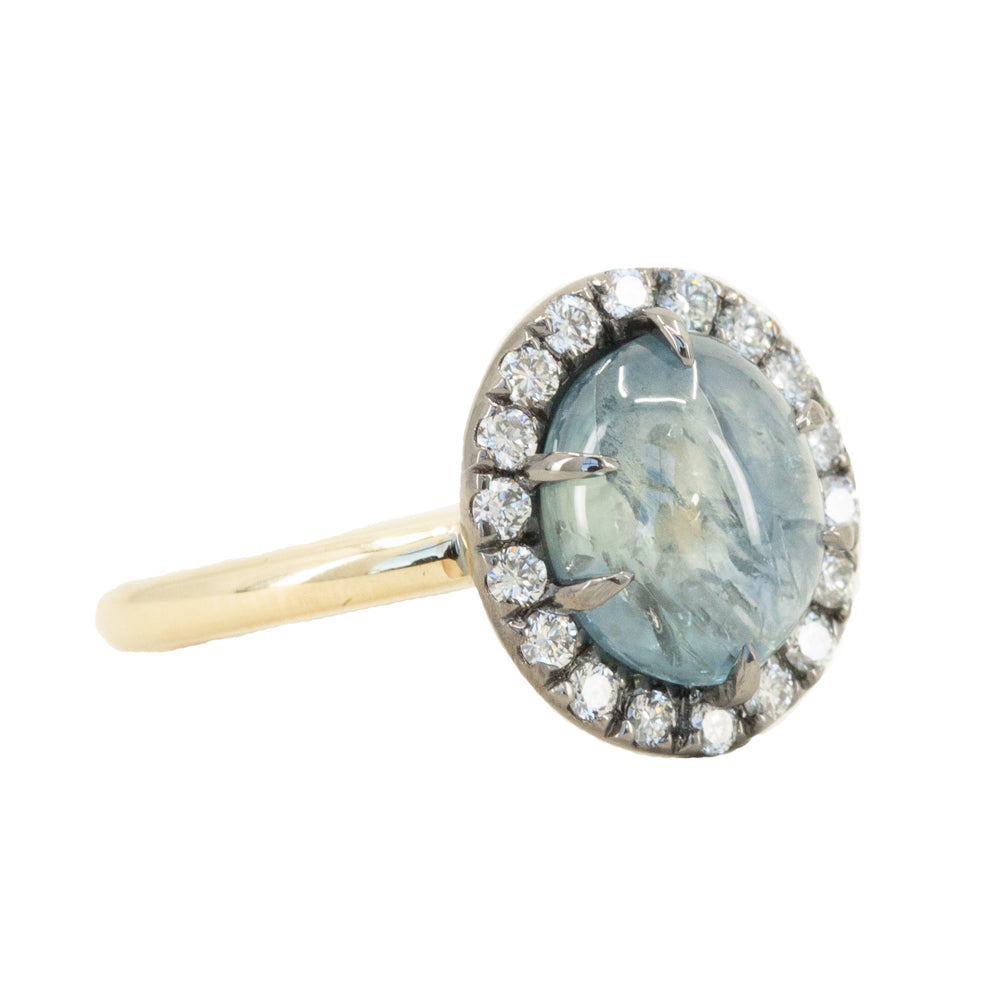 3.53ct Blue Oval Cabochon Montana Sapphire Low Profile Antique Diamond Halo Six Prong Ring in 14k Yellow Gold