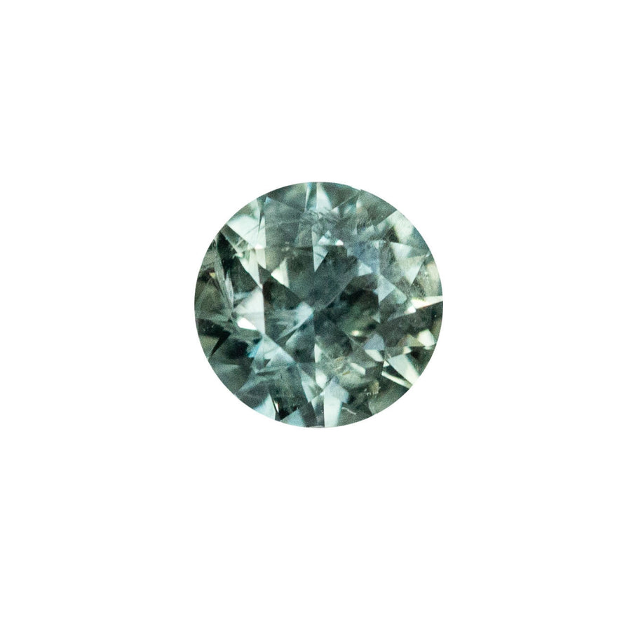 1.13CT ROUND MONTANA SAPPHIRE, GREEN WITH TEAL BLUE, SOME LIGHT INCLUSIONS, SPARKLE CUT, UNHEATED, 6.2MM
