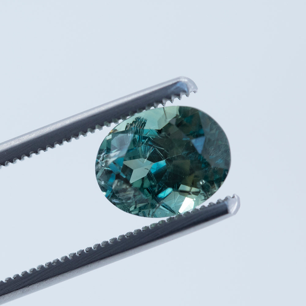 4.24CT OVAL MONTANA SAPPHIRE, BLUE GREEN TEAL, UNHEATED, 10.29X8.06MM