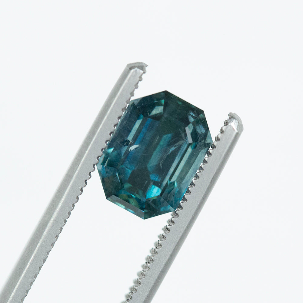 4.31CT EMERALD CUT MONTANA SAPPHIRE, TEAL BLUE GREEN, 9.39X6.91MM