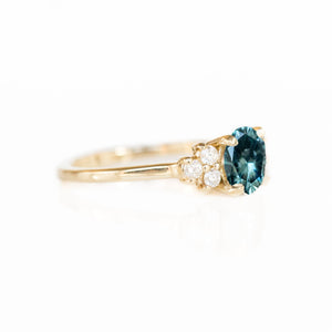 Custom Order-  1.35ct Nigerian Sapphire with Cluster Ring Setting with White Diamonds - Reserved for K.G