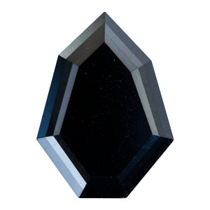 5.65CT GEOMETRIC SHIELD DIAMOND, DOUBLE CUT, BLACK, 13.57X9.2MM