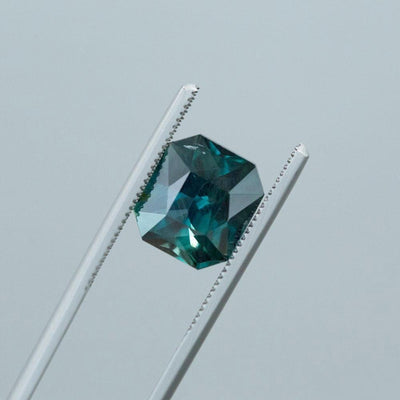 5.67CT RADIANT CUT SAPPHIRE, DEEP VIBRANT TEAL GREEN BLUE, 10.5X9.4MM