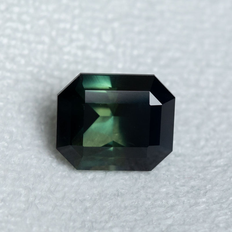 5.73CT RADIANT CUT MADAGASCAR SAPPHIRE, PARTI GREEN YELLOW BLUE, 10.89X9.08X6.17MM