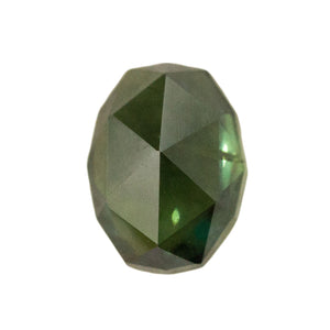2.6CT FANCY OVAL ROSECUT NIGERIAN SAPPHIRE, GREEN WITH SOME BLUE, GREAT CLARITY, UNHEATED, 8.5X6.6MM