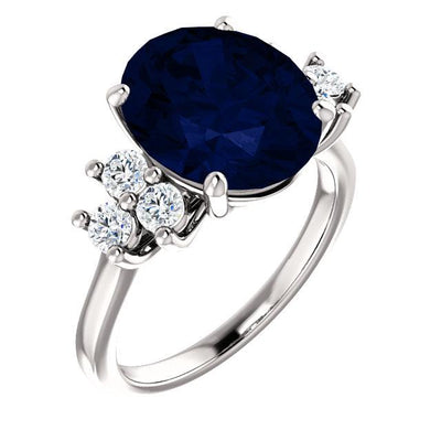 Custom Order-  2.02ct Montana Sapphire Center with six side stones Ring- Reserved for M.
