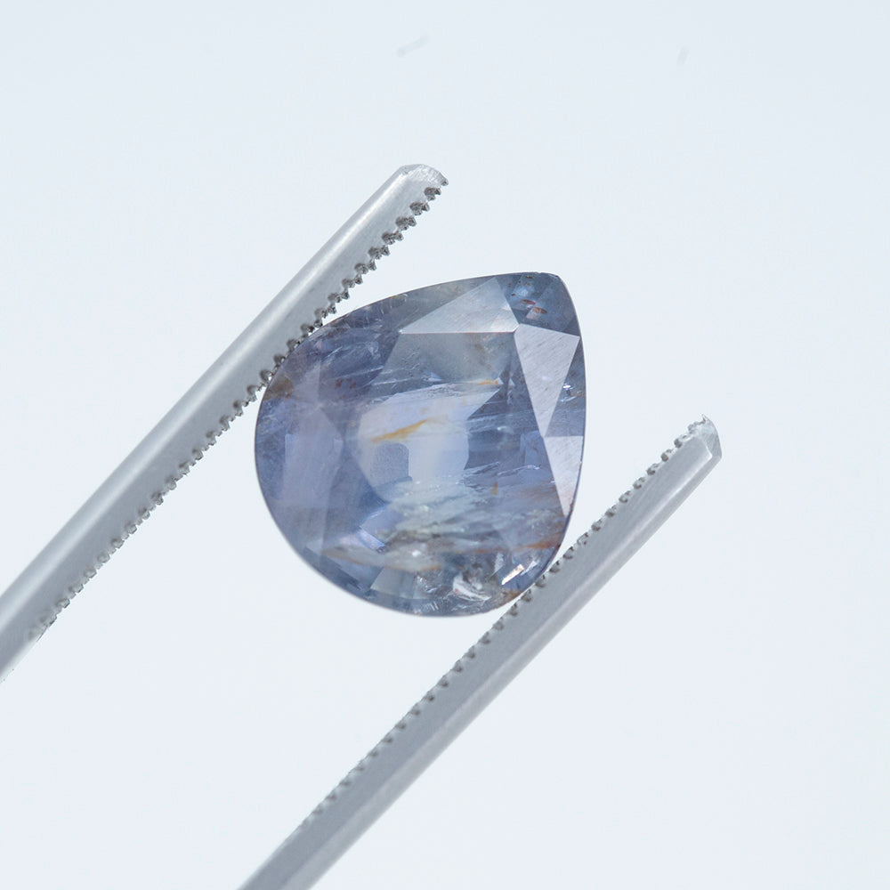 8.06CT PEAR TANZANIAN SAPPHIRE, EARTHY PURPLE BLUE GREY BROWN, UNHEATED, 13X11MM