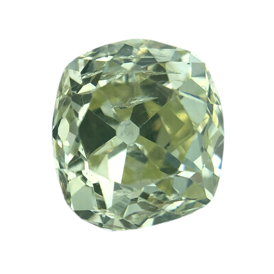 0.63CT OLD MINE CUT DIAMOND, FANCY LIGHT YELLOW, SI1 CLARITY, 5.36 X 4.79 X 3.25MM