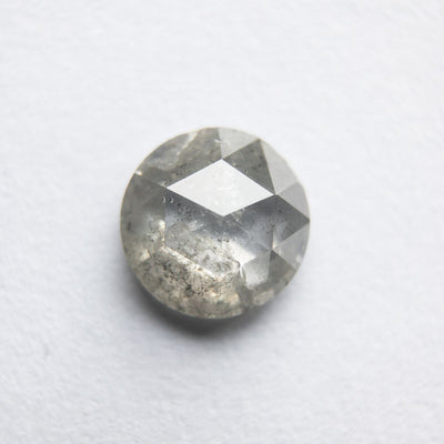 0.92ct round icy salt and pepper rosecut diamond, 6.60x6.55mm