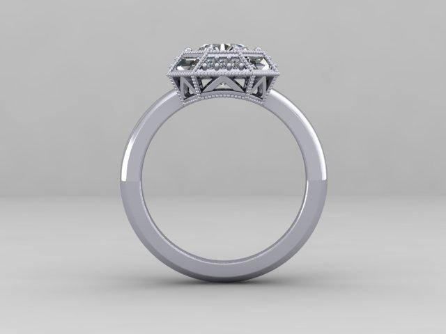 Custom Order- Custom Old European Cut Art Deco Engagement Ring