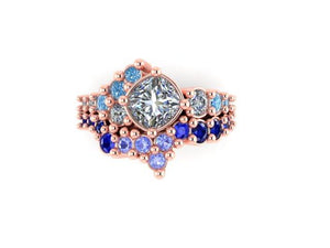 Custom Order- Cluster Alexandrite and Montana Sapphire Ring in 18k Rose Gold Reserved for R.