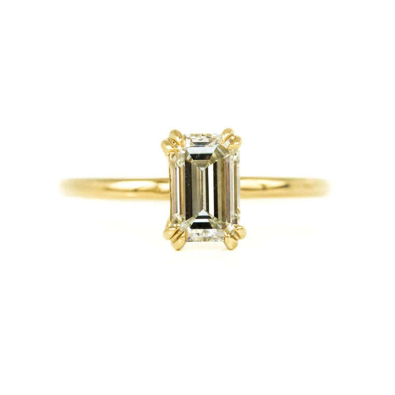 Plain Double Prong Evergreen Solitaire, Stackable - Setting