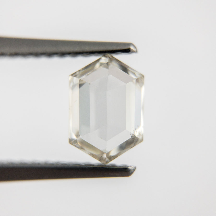Custom Order- 1.01ct White Hexagon Rosecut Diamond in 14k White Gold Prong Setting. Payment 1 of 2, Reserved for T.