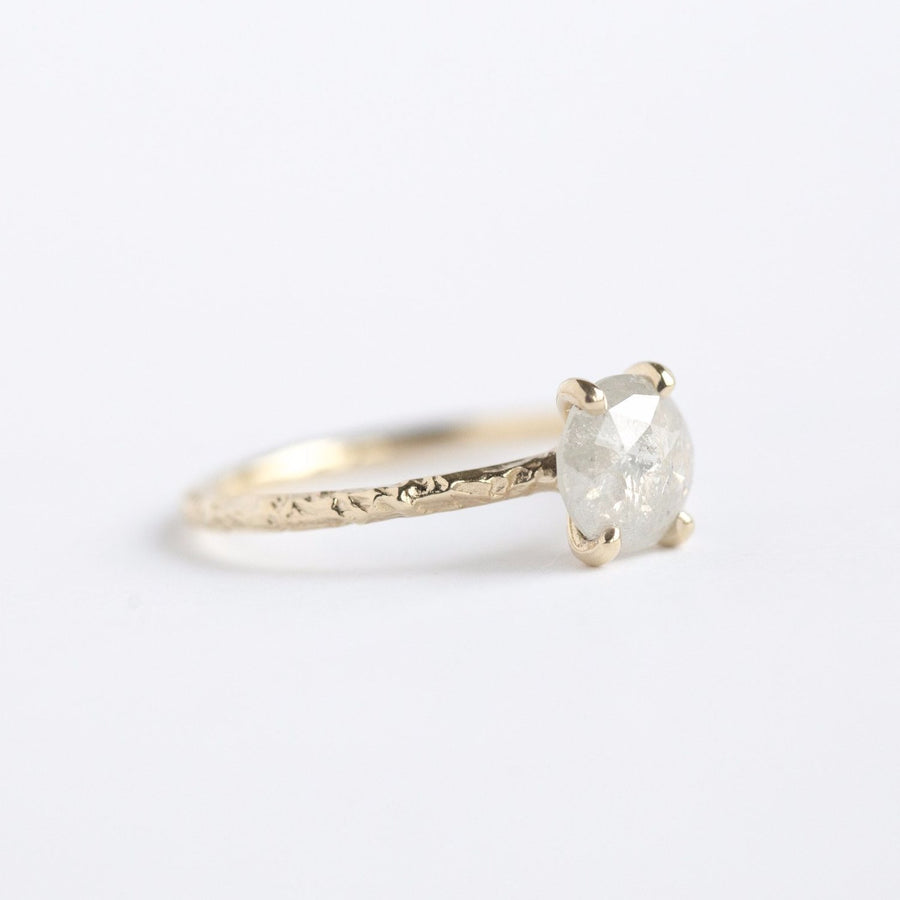 evergreen collection yellow gold rosecut diamond hand carved grey diamond engagement ring
