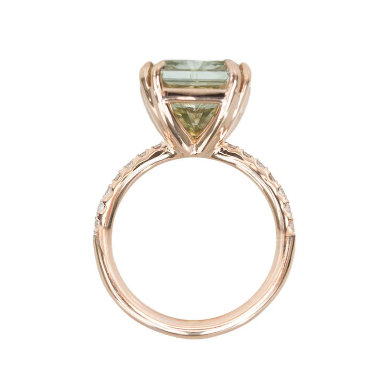 5.04ct GIA Green Radiant Cut Diamond Ring in 18k Rose Gold
