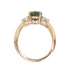 2.05ct Round Unheated Teal Green Sapphire With Pear Diamond Side Stones in 14k Rose Gold
