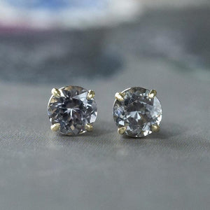 1.89ctw Round Grey Spinel Stud Earrings in Yellow Gold