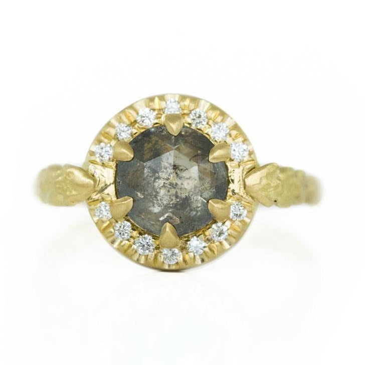 1.60ct Moody Rosecut Diamond Evergreen Six Prong Halo Ring in 18k Yellow Gold