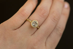 1.50ct Salt and Pepper Diamond in low profile Bezel Setting with Evergreen Embedded Diamonds 18k Yellow