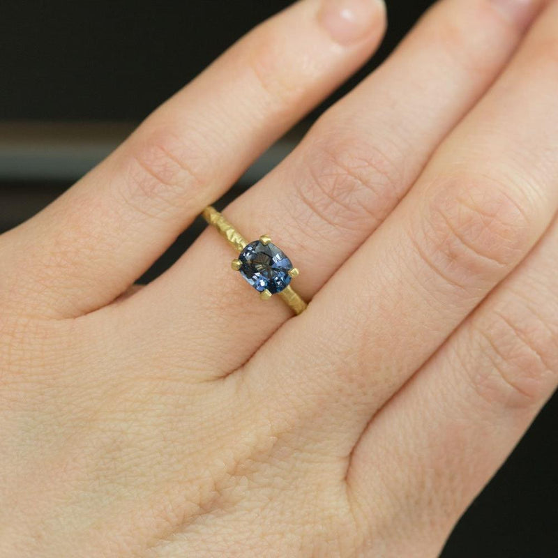 1.21ct Blue Spinel East-West Evergreen Solitaire in 14k Satin Yellow Gold