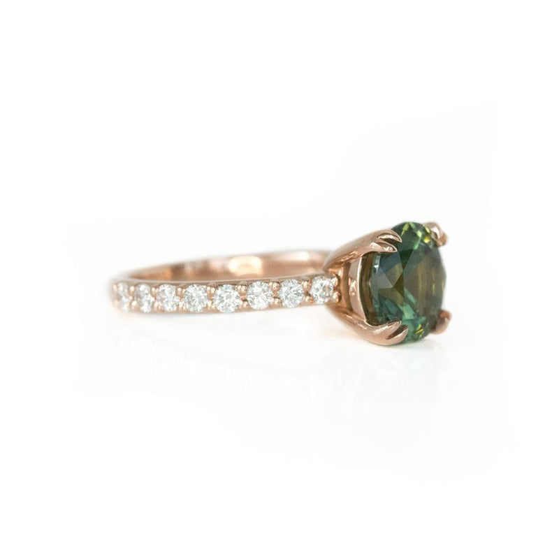 2.77ct Round Green Unheated Sapphire and Diamond-studded ring in 14k Rose Gold