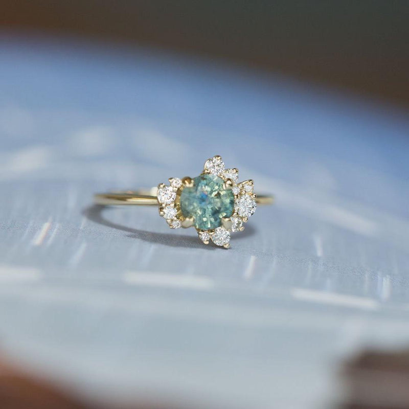 1.00ct Teal Blue Green Montana Sapphire and Asymmetrical Diamond Cluster Ring