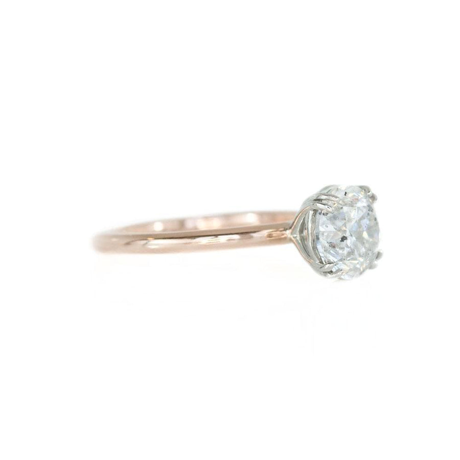 2.05ct Salt and Pepper Diamond Two-Tone Solitaire Ring in Double Claw Platinum and Rose Gold