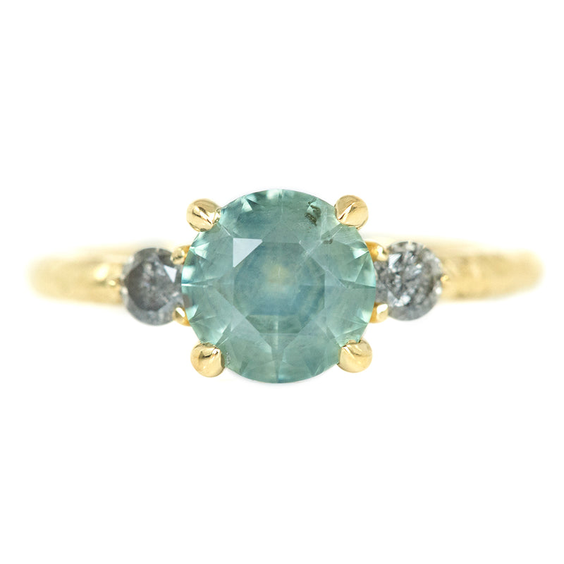 1.52ct Round Minty Montana Sapphire Three Stone Ring With Grey Diamond Side Stone In 14k Yellow Gold