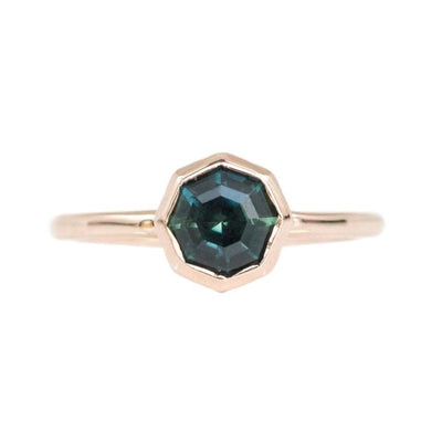 1.41ct Bezel Set Octagon Unheated Sapphire Ring in 14k Rose Gold