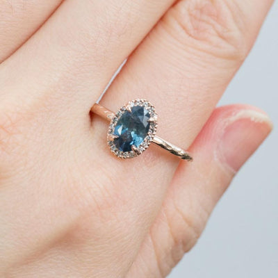 1.19ct Blue Oval Montana Sapphire Ring in 14k Rose Gold Evergreen Diamond Halo