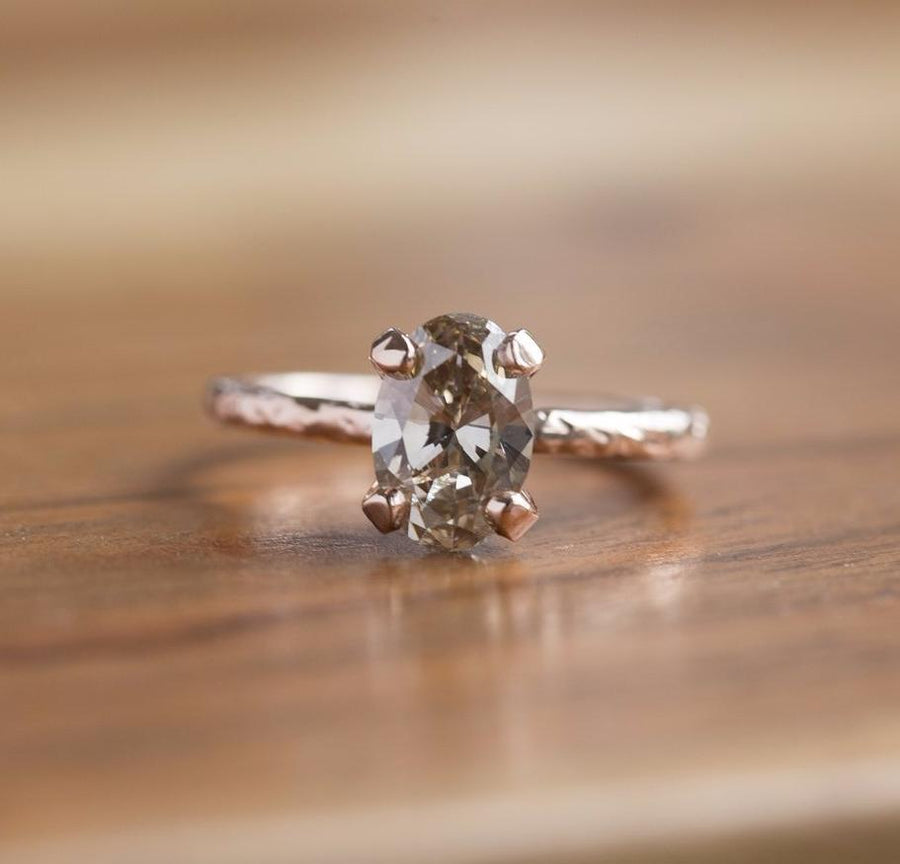 evergreen collection champagne diamond solitaire rose recycled gold handmade engagement ring