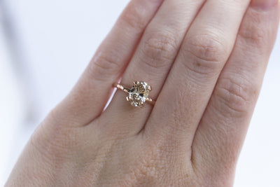 champagne diamond solitaire rose recycled gold handmade engagement ring