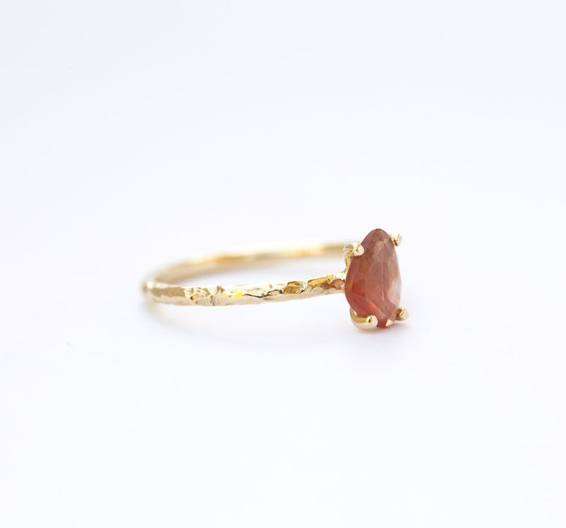 Peach Sapphire Rosecut Ring in Hand Carved gold by Anueva Jewelry