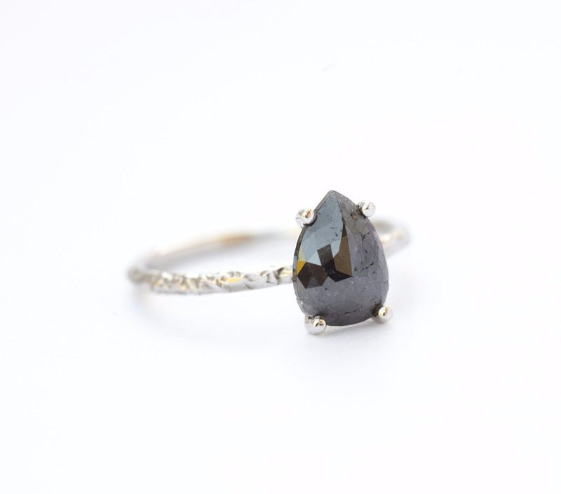 Custom Order-  1.97ct Grey Pear Rosecut Diamond Ring