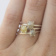 Silver Stocking Stuffers : Plain Silver Rosecut Diamond Rings - Natural colored hexagon rustic diamonds in hand carved recycled silver prong setting by Anueva Jewelry