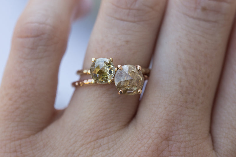 Rosecut Champagne Galaxy Diamond and Dainty Carved Rose Gold Solitaire Engagement Ring - Low Profile Rosecut Ring - Skinny Band - Hand carved by Anueva Jewelry
